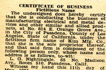 Fictitious business name listing (1931)