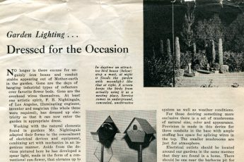 """Garden Lighting…Dressed for the Occasion"" (1934) Electrical West"