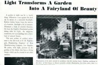 """Light Transforms a Garden into a Fairyland of Beauty"" (1937) Electric News"